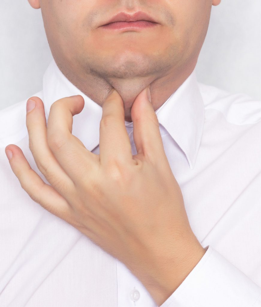 Man squeezing his chin fat