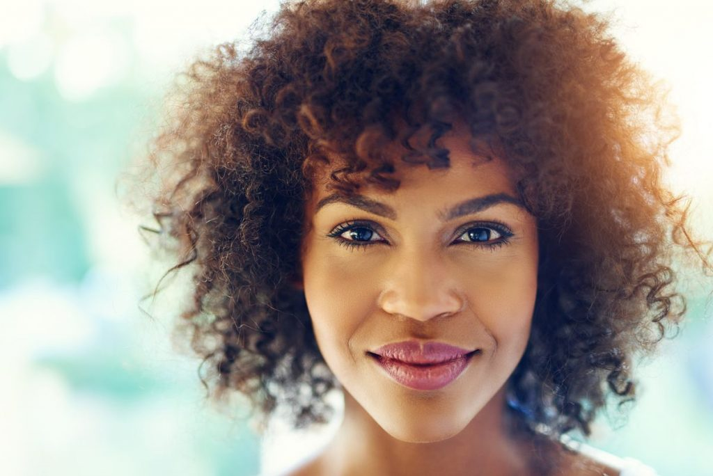 Woman with good facial volume