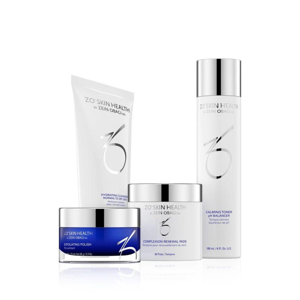 zo skincare line product arrangement