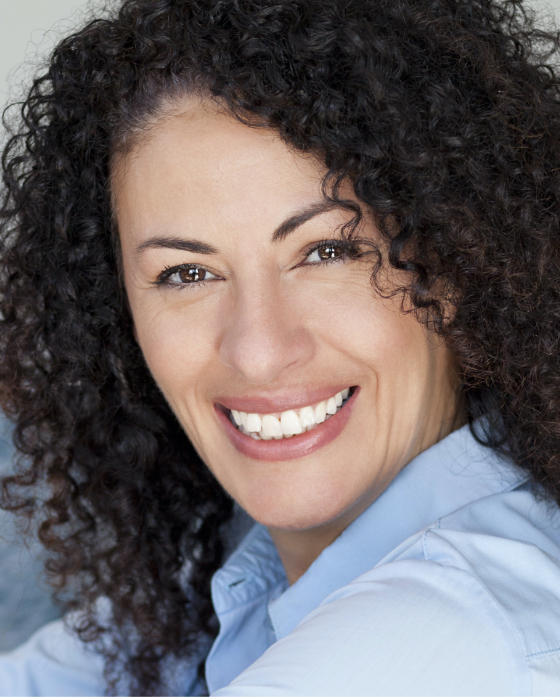 Smiling woman with great facial volume